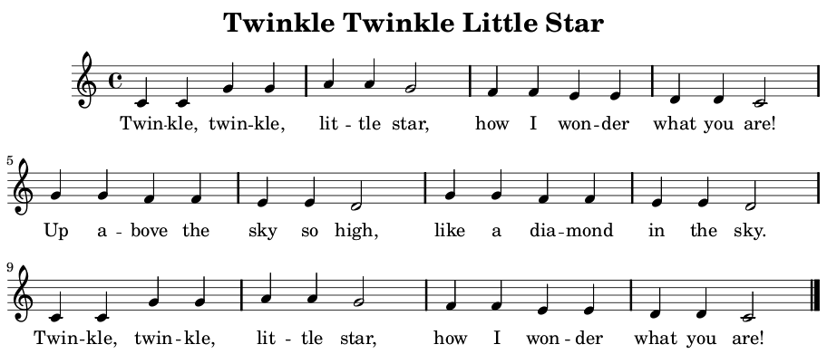 Twinkle, twinkle Little star sheet music beginners