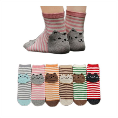 AnVei-Nao Womens Girls Stripe Cute Cat Cotton Soft Pattern Crew Socks 6 Pairs