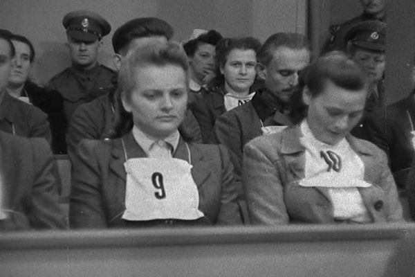 Irma Grese on the accusation stand during Nurnberg trials