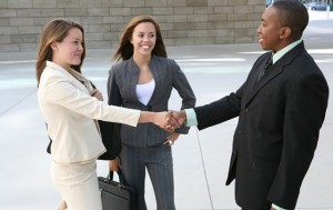 two business persons are introducing themselves, networking tip