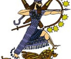 Sumerian god Ninurta with Sharur weapon