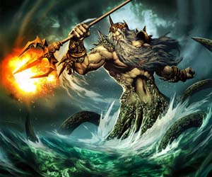 the god Poseidon rises from the waves with his trident ablaze