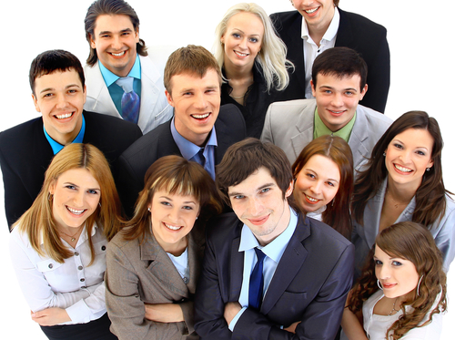 A group of successful employees rewarded for their work