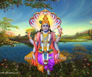 hindu god vishnu with Narayanastra weapon