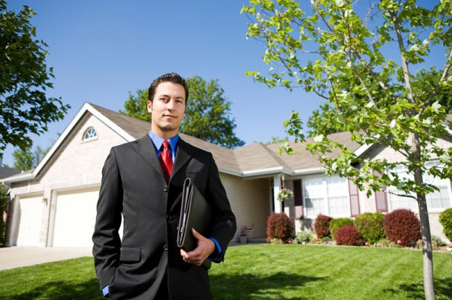 A real estate agent selling a house