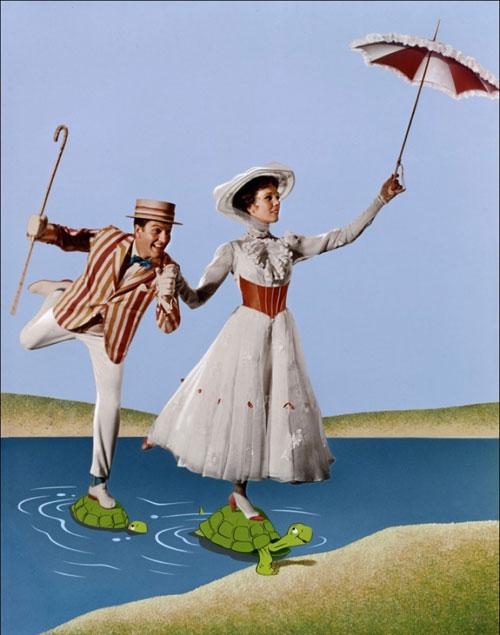 Julie Andrews white dress hat umbrella Mary Poppins