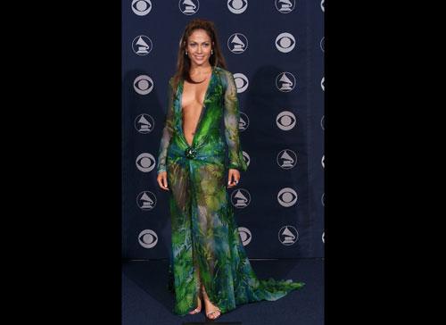 Jennifer Lopez plunging neckline green Versace dress