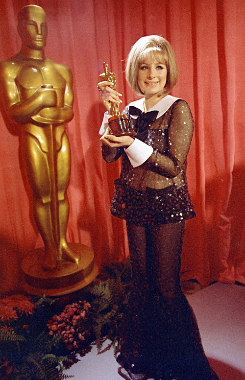 Barbra Streisand in sheer outfit at the Academy Awards in 1969