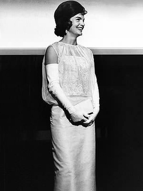Jacqueline Kennedy inaugural ball white gown 1961