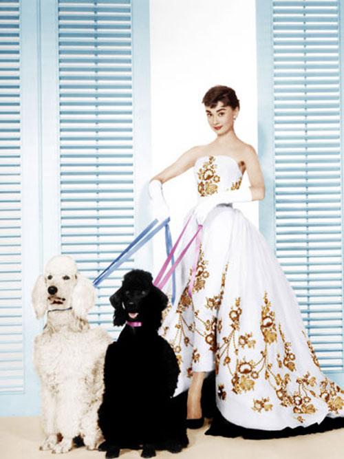 Audrey Hepburn gilded white dress dogs Sabrina