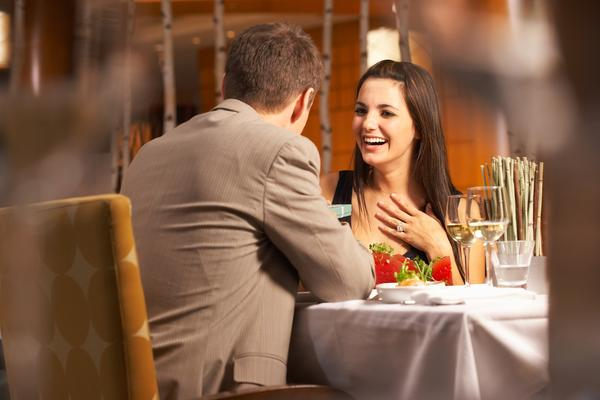 happy couple having dinner at a restaurant