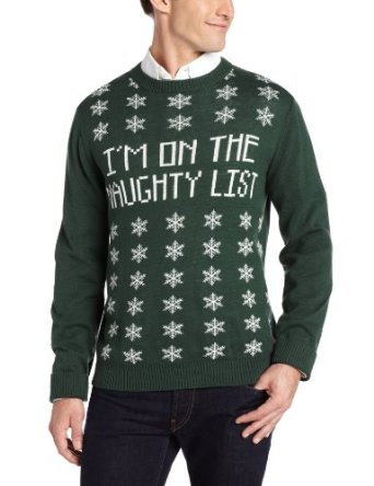 Alex Stevens Mens Naughty List Ugly Christmas Sweater