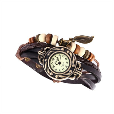 Brown Retro Weave Wrap Lady Bead Leaf Dangle Bracelet Bangle Quartz Wrist Watch
