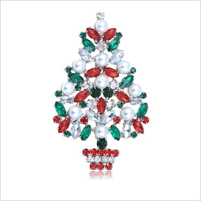 Venetian Faux Pearl Christmas Tree Pin Brooch