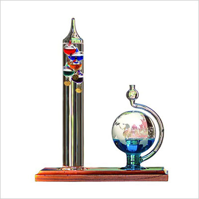 Galileo Thermometer with Glass Globe Barometer