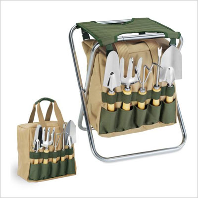Garden Tool Set Tote And Folding Seat