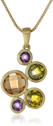 Gold Plated Multi-Colored Stone Bubble Drop Pendant Necklace