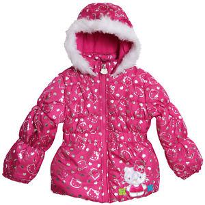 Hello Kitty Little Girls Pink Hooded Puffy Fleece Lined Winter Coat