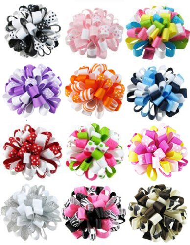 HipGirl Boutique Girls 12pc 2.5 Loopy Ribbon Puff Hair Bow Clips