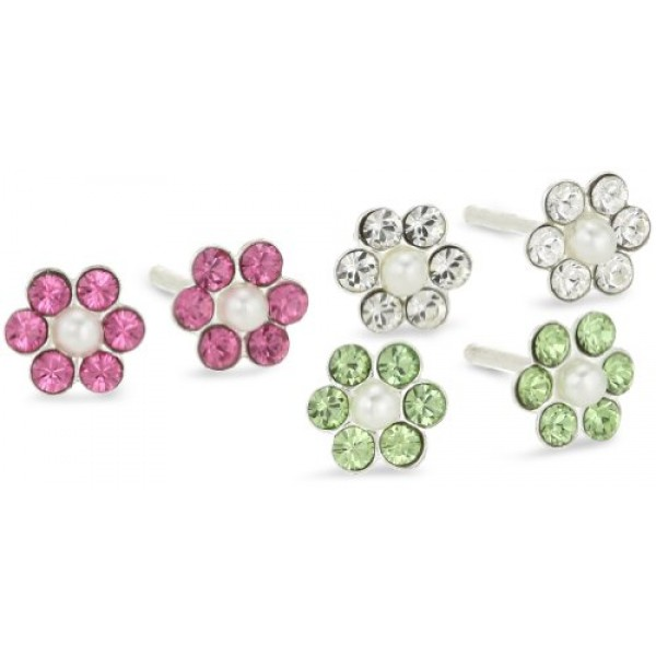 Kate & Lucy Sterling Silver 3 Piece Cubic Zirconia Earring Set