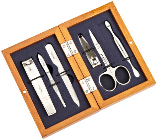 Nautica Men's Six Piece Manicure Gift Set In Wooden Valet Box