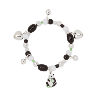 Panda Bear Heart Girls Stretch Charm Bracelet Black