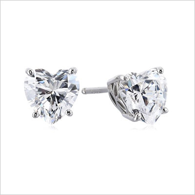 Sterling Silver Swarovski Zirconia 2 cttw Heart Stud Earrings