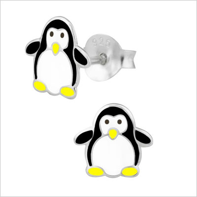 Sterling Silver Hypoallergenic Penguin Stud Earrings