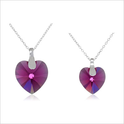 Sterling Silver Mother and Daughter Fuchsia Swarovski