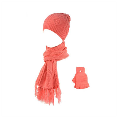 Winter Soft Knit Beanie Hat Long Scarf Flip Cover Gloves