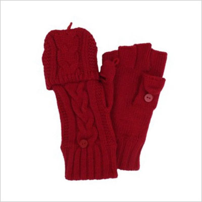 Womens Fingerless Red Flip-Top Gloves