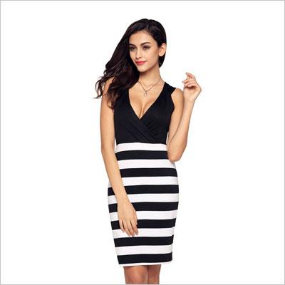 Womens Girls Deep V-neck Casual Mini Dress