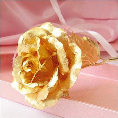 24K 6 Inch Gold Foil Rose