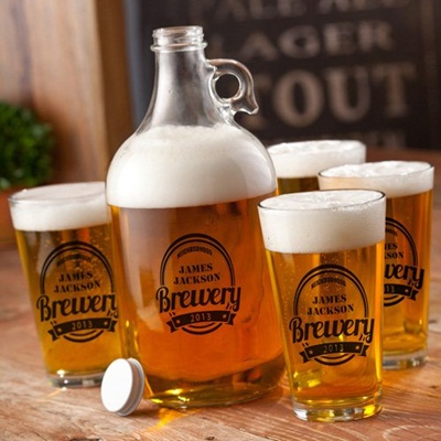 Personalized Brewery Growler Set - Black