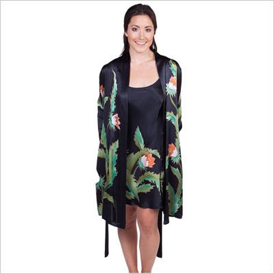 Black Silk Nightgown Robe Set
