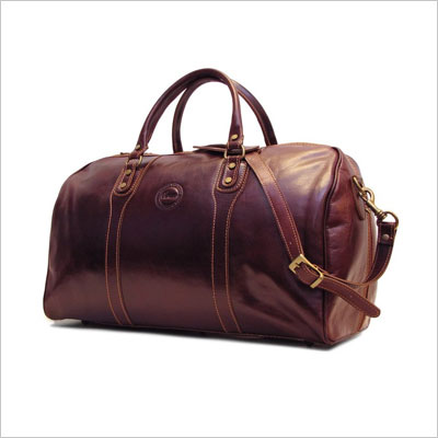 Brown Italian Leather Travel Bag