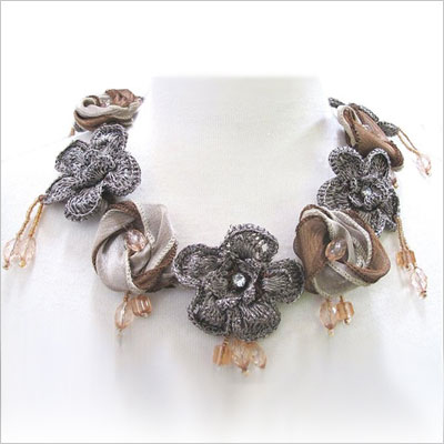Floral Crocheted Statement Necklace