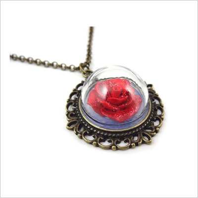 Red Rose Glass Dome Bronze Necklace