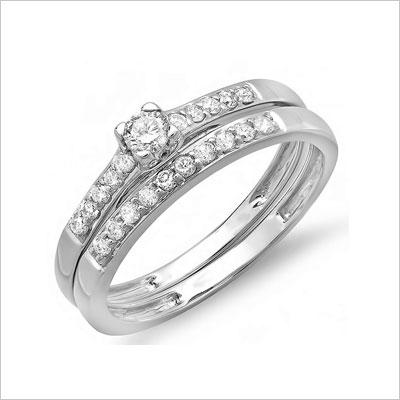 White Gold Round Diamond Ladies Bridal Ring