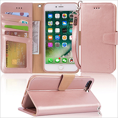 Pink Leather iPhone 8 Plus and iPhone 7 Plus wallet case
