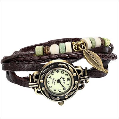 Leather bracelet wrist watch