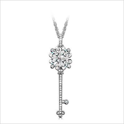 Key pendant necklace with Swarovski crystals