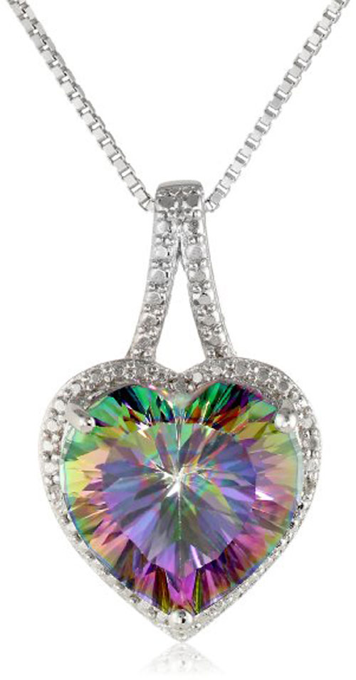 Sterling Silver Mystic Fire Topaz and Diamond-Accented Heart Pendant Neckalce