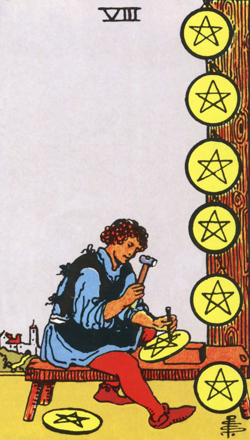 eight-of-pentacles tarot cards
