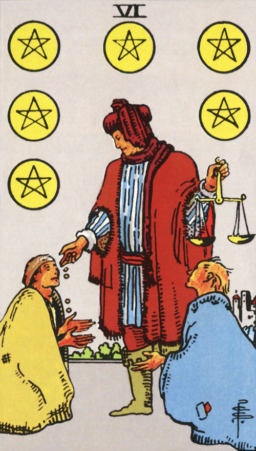 six-of-pentacles tarot cards