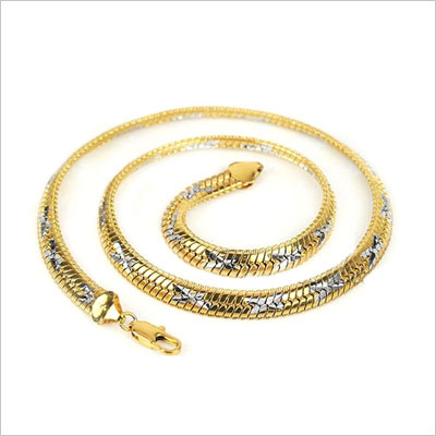 18K Gold with Star Silver Filled Snake Herringbone Chain Necklace