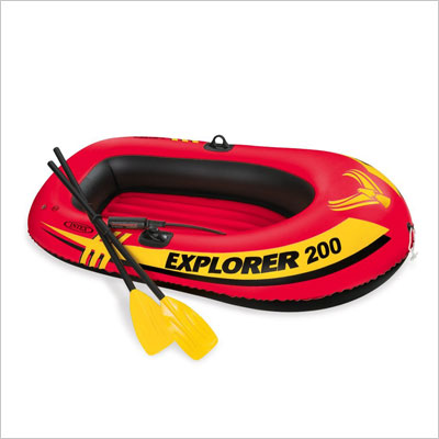 2-Person Inflatable Boat Set with French Oars and Mini Air Pump