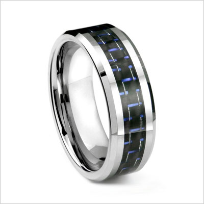 BLUE & BLACK Carbon Fiber Inlay 8MM Men's Tungsten Metal Ring