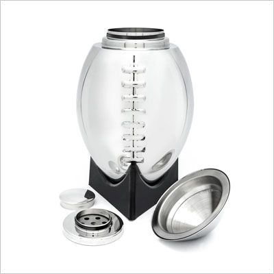 Football Cocktail Shaker with 'Kickoff Tee' Styled Stand