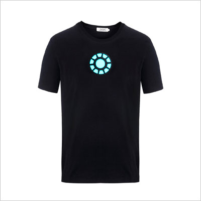 Tony Stark Light-Up Arc Reactor LED Iron Man 1 Black T Shirt